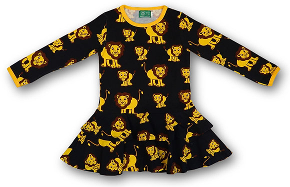 NAPERONUTTU organic Long Sleeve Frill Dress | Lion