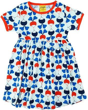 DUNS Sweden organic Short Sleeve gathered Dress Big Radish | Blue