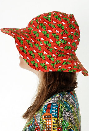 DUNS organic Woven Sunhat with Wide Brim Radish | Coral