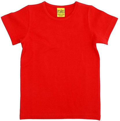 DUNS More Than a Fling organic Short Sleeve Top | Mandarin Red