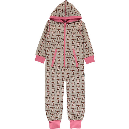 MAXOMORRA organic One Piece Suit with Hood | Fawn