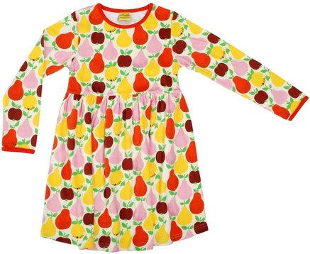 DUNS Sweden organic Long Sleeve gathered Dress Fruits | Mandarin Red & Yellow