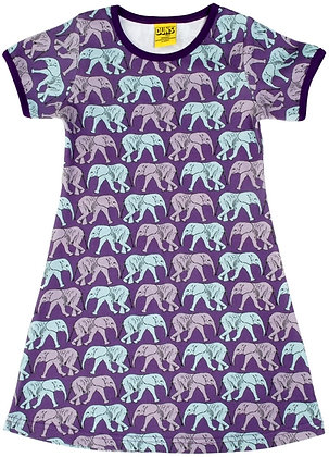 DUNS Sweden organic Short Sleeve Dress Elephant Walk | Purple