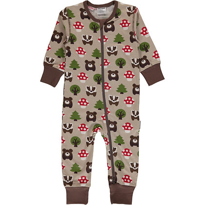 MAXOMORRA organic Long Sleeve Rompersuit with Zip   Forest