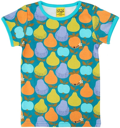 DUNS Sweden organic Short Sleeve Top Fruits | Dark Teal & Moss Green