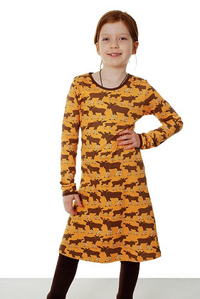 DUNS Sweden organic Long Sleeve Dress Moose | Mustard