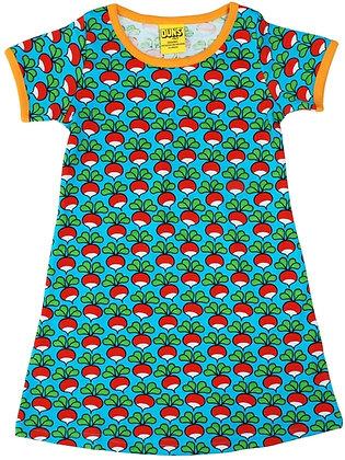 DUNS Sweden organic Short Sleeve Dress Radish | Turquoise
