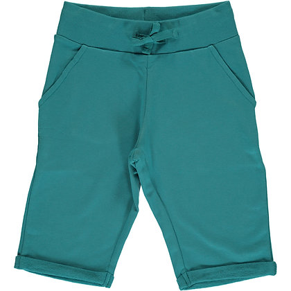 MAXOMORRA organic Sweatshorts Knee | Soft Petrol