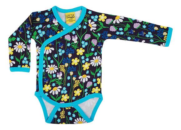 DUNS Sweden organic Long Sleeve Kimono Body Midsummer Flowers | Purple