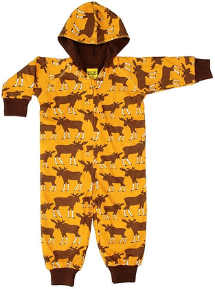 DUNS Sweden organic Lined Suit with hood Moose | Mustard