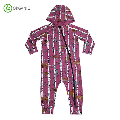 VILLERVALLA organic All in One Suit with Hood Birch Animals | Smoothie