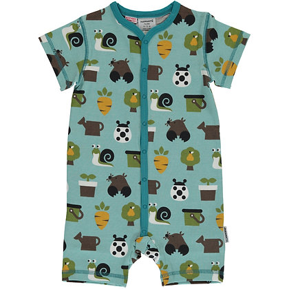MAXOMORRA organic Short Sleeve Rompersuit with Buttons | Garden