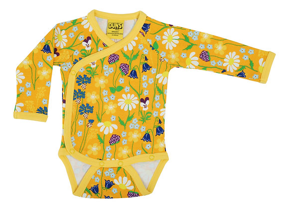 DUNS Sweden organic Long Sleeve Kimono Body Midsummer Flowers | Yellow