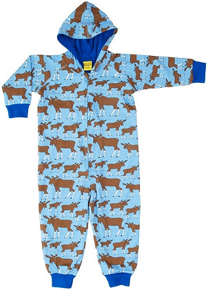 DUNS Sweden organic Lined Suit with hood Moose | Blue
