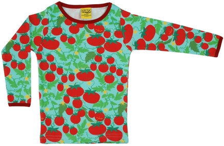 DUNS Sweden organic Long Sleeve Top Growing Tomatoes | Turquoise