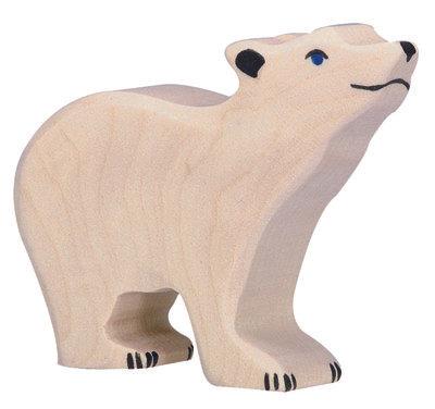 HOLZTIGER White Bear, Small, Head Raised