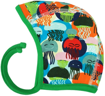 DUNS Sweden organic Bonnet Hat Jellyfish   Green and Blue