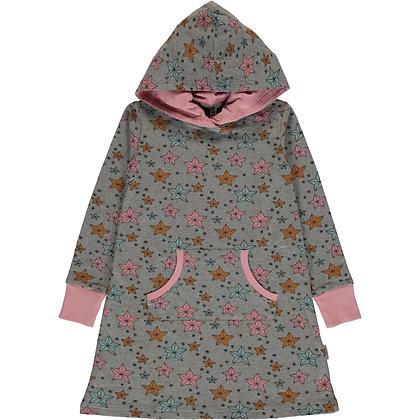 MAXOMORRA organic Long Sleeve Dress Hoodie Sweat | Night Sparkle