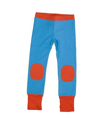 MOROMINI organic Pants/Leggings with Knee Patches | Blue & Orange