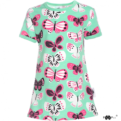 PaaPii VIOLA organic Short Sleeve Tunic, Butterflies | Mint and Pink