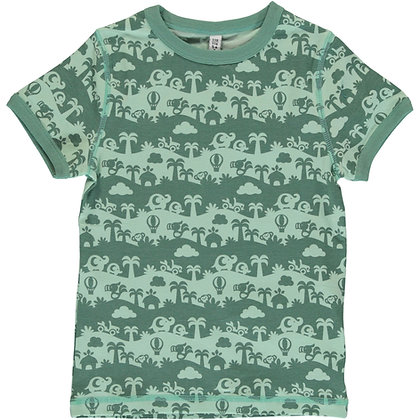MAXOMORRA organic Short Sleeve Top | Jungle Landscape