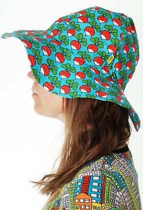DUNS organic Woven Sunhat with Wide Brim Radish | Turquoise