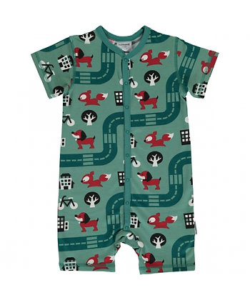 MAXOMORRA organic Short Sleeve Rompersuit with Buttons | Big City