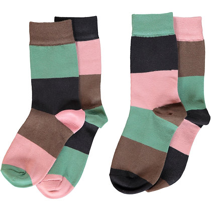 MAXOMORRA organic Socks 2-pack | Multi Forest Stripes