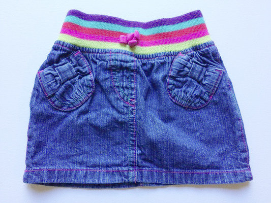 GEORGE rainbow denim skirt | 9-12 months