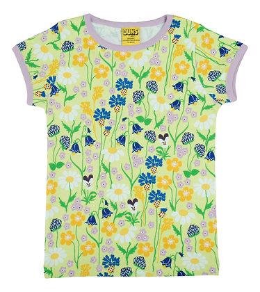 DUNS Sweden organic Short Sleeve Top Midsummer Flowers   Green