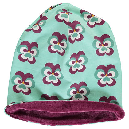 MAXOMORRA organic Hat (Velour Lining) | Purple Pansy