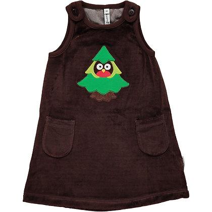 MAXOMORRA organic Dress Embroidered (Velour) | Forest