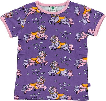 SMAFOLK organic Short Sleeve Top, Horses | Purple Heart