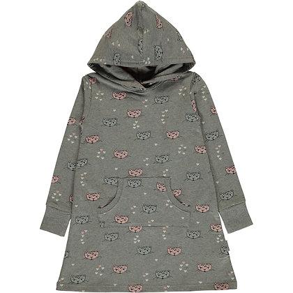 MAXOMORRA organic Long Sleeve Dress Hoodie Sweat | Kitty Cat