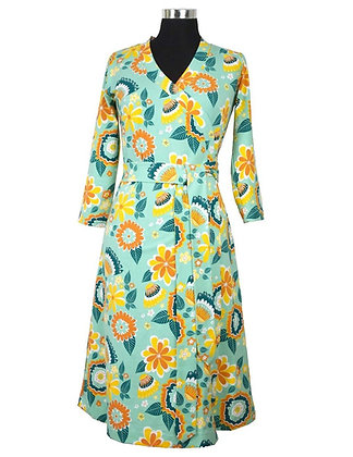 MOROMINI Ladies Wrap Dress | Mumbai Flower Market Green