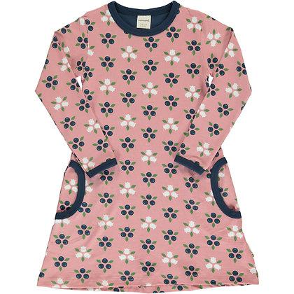 MAXOMORRA organic Long Sleeve Dress | Blueberry Blossom