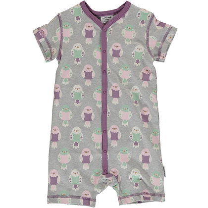 MAXOMORRA organic Short Sleeve Rompersuit with Buttons | Budgie