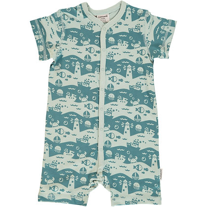MAXOMORRA organic Short Sleeve Rompersuit with Buttons | Ocean Landscape