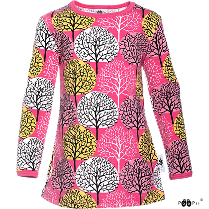 PaaPii VIENO organic Long Sleeve Tunic, Seasons | Pink & Yellow