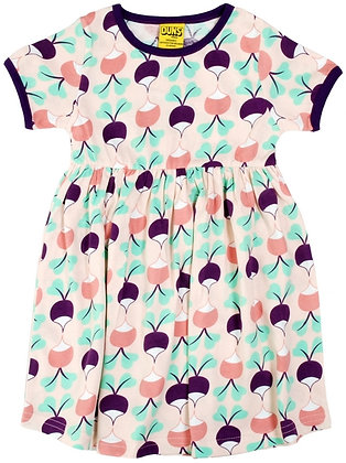 DUNS Sweden organic Short Sleeve gathered Dress Big Radish | Purple