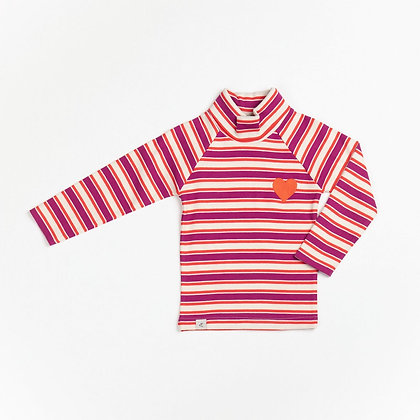 ALBA of Denmark Westwind Highneck blouse | Boysenberry Magic Stripes