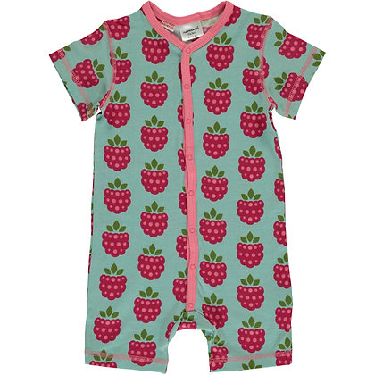 MAXOMORRA organic Short Sleeve Rompersuit with Buttons | Raspberry