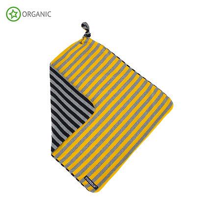 VILLERVALLA organic Striped Baby Blanket | Mustard/Night