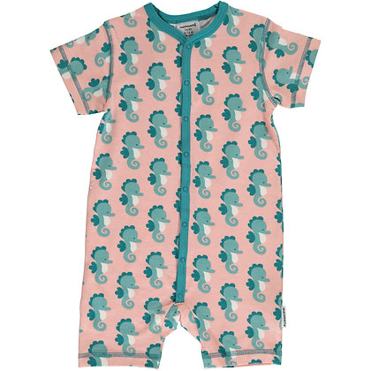 MAXOMORRA organic Short Sleeve Rompersuit with Buttons | Seahorse