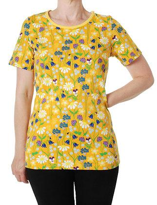 DUNS Sweden organic Adult Short Sleeve Top Midsummer Flowers   Yellow