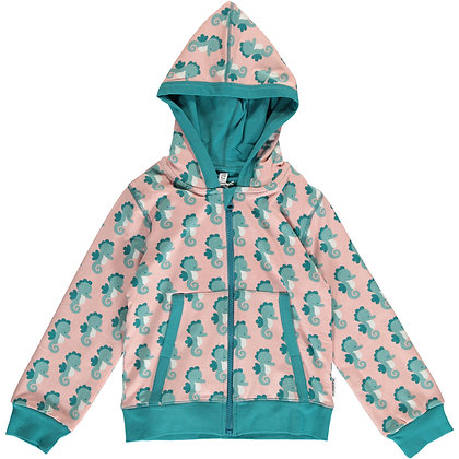 MAXOMORRA organic Cardigan Hood | Seahorse