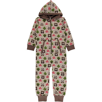 MAXOMORRA organic One Piece Suit with Hood   Forest