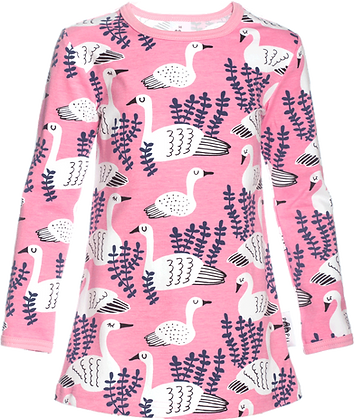 PaaPii VIENO organic Long Sleeve Tunic, Swan | Light Pink & Blueberry