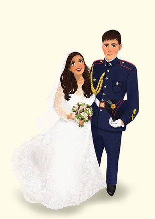 custom army wedding portrait