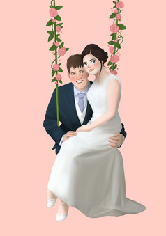 final drawing of couple's wedding photo